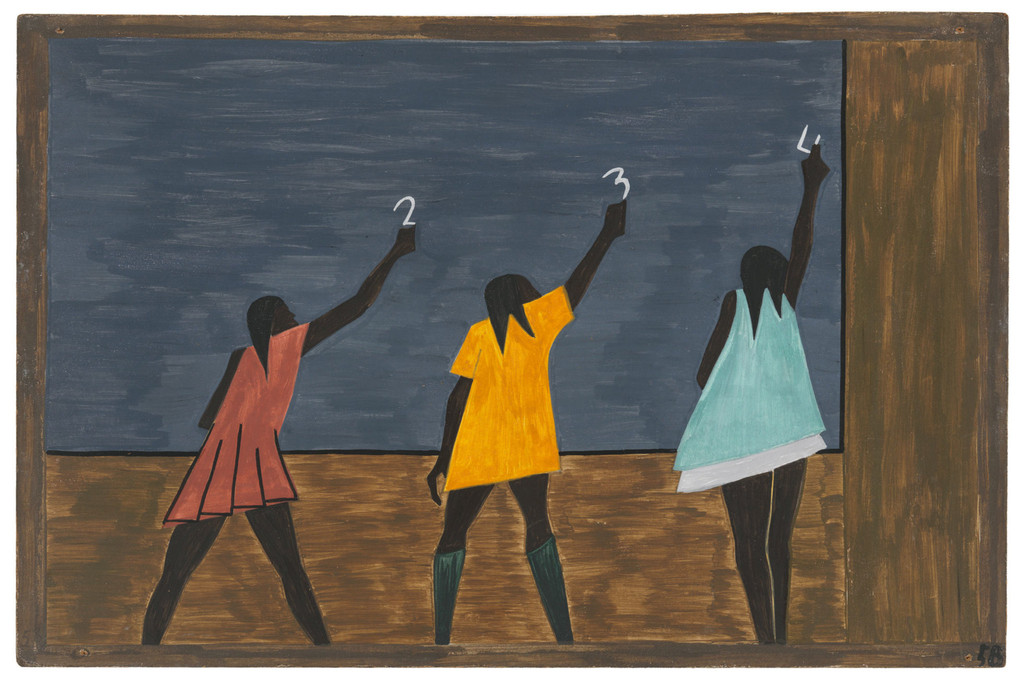 "Jacob Lawrence. *The Migration Series*. 1940-41. Panel 58: ""In the North the Negro had better educational facilities."" Casein tempera on hardboard, 18 x 12″ (45.7 x 30.5 cm). The Museum of Modern Art, New York. Gift of Mrs. David M. Levy. © 2015 The Jacob and Gwendolyn Knight Lawrence Foundation, Seattle / Artists Rights Society (ARS), New York. Digital image © The Museum of Modern Art/Licensed by SCALA / Art Resource, NY"