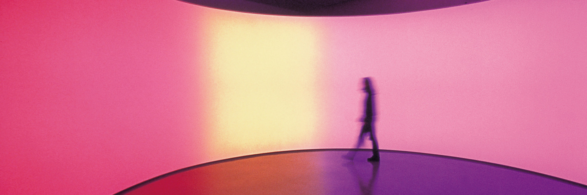Olafur Eliasson. 360º room for all colours. 2002. Stainless steel, projection foil, fluorescent lights, wood, and control unit, 126 × 321 × 321″ (320 × 815.3 × 815.3 cm). Private collection. Installation view at Musée d'Art moderne de la Ville de Paris. Courtesy Tanya Bonakdar Gallery, New York. © 2008 Olafur Eliasson