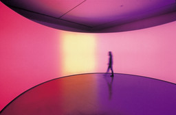 Olafur Eliasson. *360º room for all colours.* 2002. Stainless steel, projection foil, fluorescent lights, wood, and control unit, 126 × 321 × 321″ (320 × 815.3 × 815.3 cm). Private collection. Installation view at Musée d'Art moderne de la Ville de Paris. Courtesy Tanya Bonakdar Gallery, New York. © 2008 Olafur Eliasson