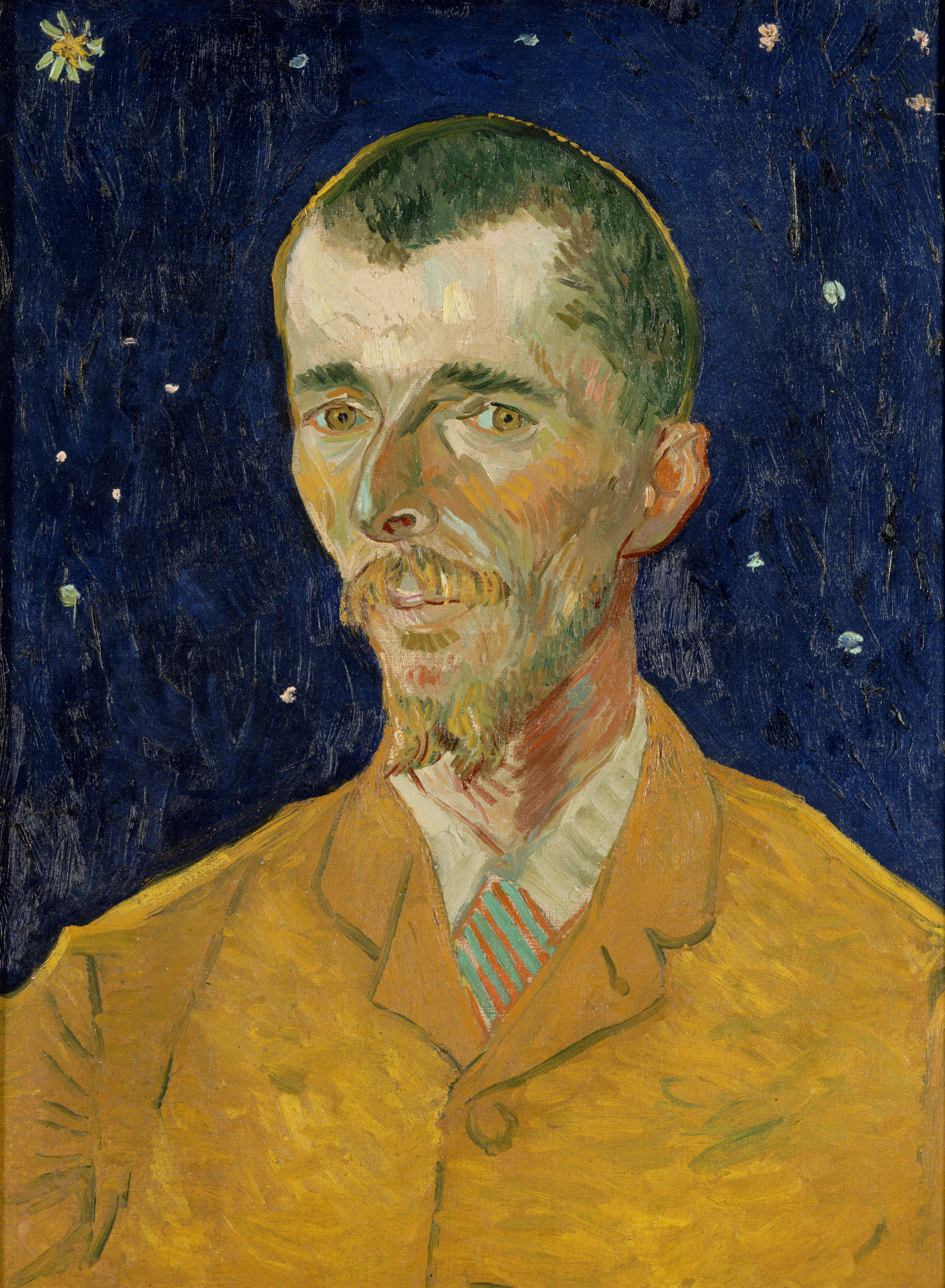 Vincent van Gogh. Eugène Boch (The Poet). 1888. Oil on canvas. 23 5⁄8 × 17 11/16″ (60 × 45 cm). Musée d'Orsay, Paris. Bequest of Eugène Boch through the Société des Amis du Louvre, 1941. © Réunion des Musées Nationaux/Art Resource, NY. Photo: Hervé Lewandowski