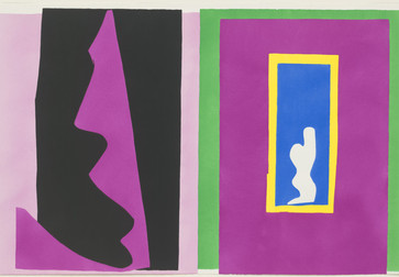 "Henri Matisse (French, 1869–1954). Destiny (Le Destin) from Jazz. 1947. One from a portfolio of twenty pochoirs, composition (irreg.): 16 ¼ × 24 13/16"" (41.2 × 63.1 cm); sheet: 16 9/16 × 25 11/16"" (42 × 65.3 cm). Gift of the artist. © 2014 Succession H. Matisse / Artists Rights Society (ARS), New York"