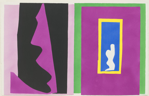 "Henri Matisse (French, 1869–1954). Destiny (Le Destin) from Jazz. 1947. One from a portfolio of twenty pochoirs, composition (irreg.): 16 1⁄4 × 24 13⁄16"" (41.2 × 63.1 cm); sheet: 16 9⁄16 × 25 11⁄16"" (42 × 65.3 cm). Gift of the artist. © 2014 Succession H. Matisse / Artists Rights Society (ARS), New York"