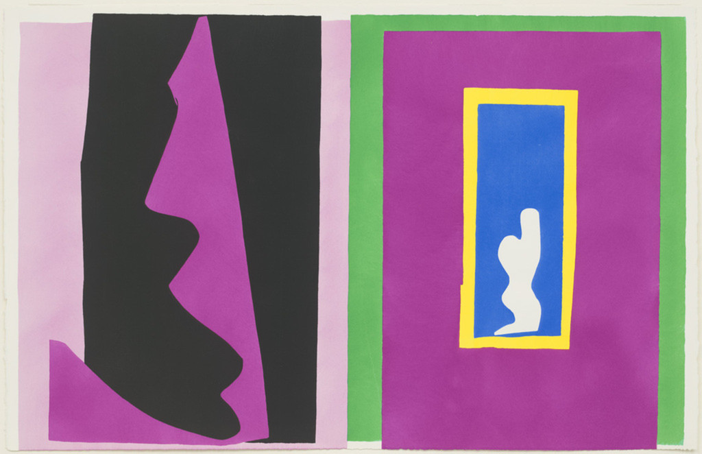 "Henri Matisse (French, 1869–1954). *Destiny (Le Destin)* from *Jazz*. 1947. One from a portfolio of twenty pochoirs, composition (irreg.): 16 1/4 × 24 13/16"" (41.2 × 63.1 cm); sheet: 16 9/16 × 25 11/16"" (42 × 65.3 cm). Gift of the artist. © 2014 Succession H. Matisse / Artists Rights Society (ARS), New York"