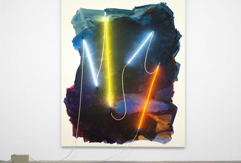 "Mary Weatherford. Coney Island II. 2012. Flashe paint on linen with neon lights and transformer, 8' 7"" x 6' 11"" (261.6 x 210.8 cm). The Museum of Modern Art, New York. Fund for the Twenty-First Century. Photo: Jonathan Muzikar"