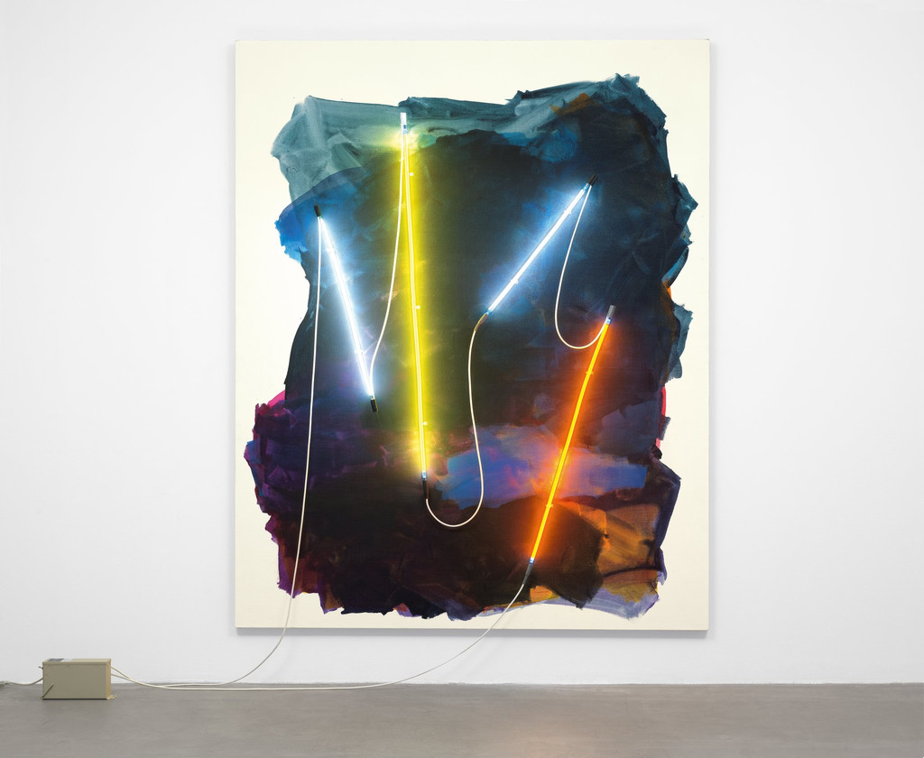 "Mary Weatherford. *Coney Island II*. 2012. Flashe paint on linen with neon lights and transformer, 8' 7"" x 6' 11"" (261.6 x 210.8 cm). The Museum of Modern Art, New York. Fund for the Twenty-First Century. Photo: Jonathan Muzikar"