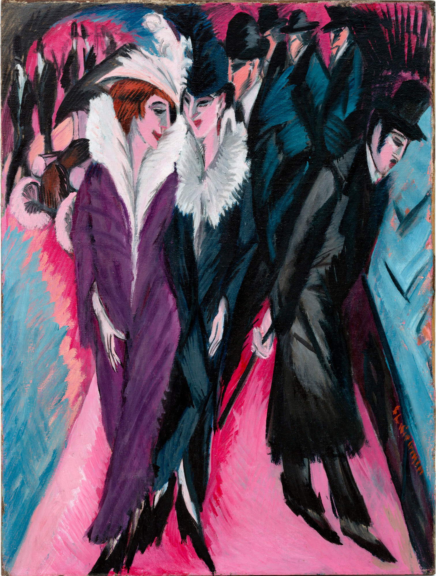 Ernst Ludwig Kirchner. Street, Berlin (Straße, Berlin). 1913. Oil on canvas, 47 1/2 × 35 7/8″ (120.6 × 91.1 cm). The Museum of Modern Art. Purchase. © 2008 Ingeborg and Dr. Wolfgang Henze-Ketterer, Wichtrach/Bern