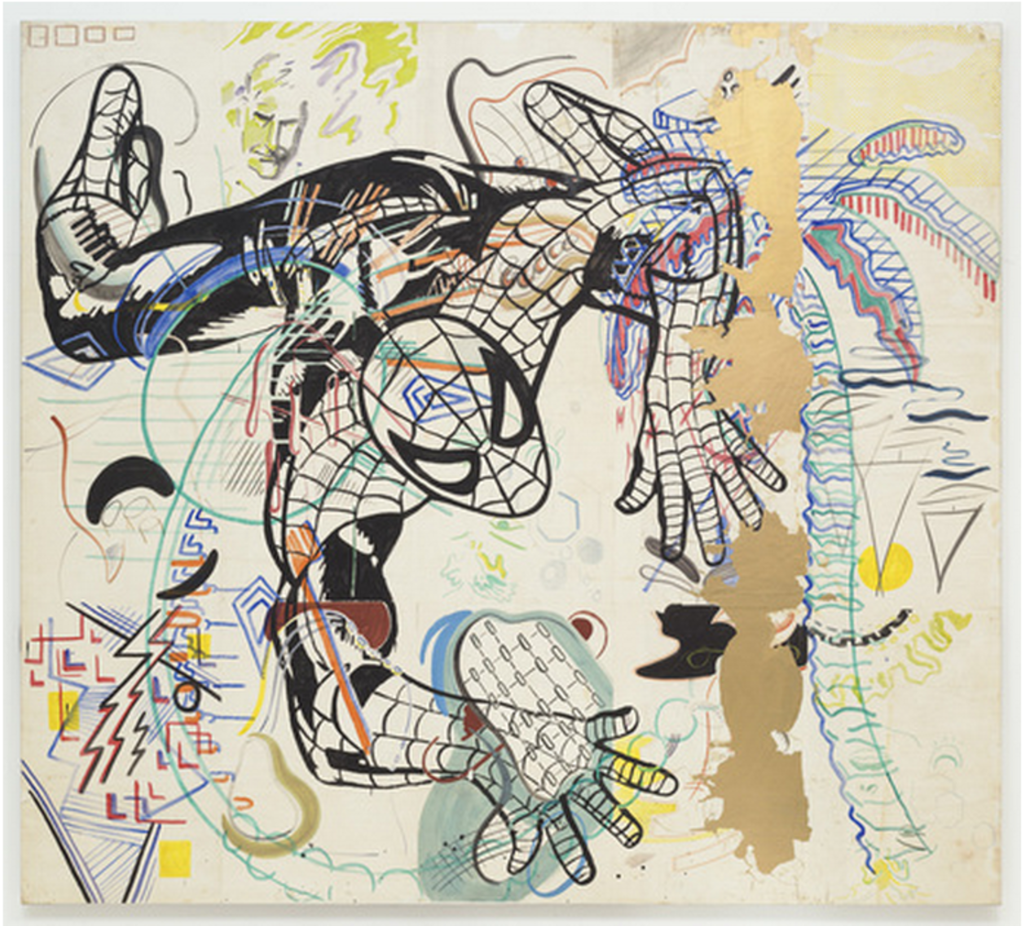 "Sigmar Polke. *Spiderman*. 1971-74. Cut-and-pasted painted papers on canvas, 9' 3 1/4"" x 10' 3"" (282.6 x 213.4 cm). Purchased with funds given by Leon D. Black, Marie-Josée and Henry R. Kravis, Jo Carole and Ronald S. Lauder, and the Richard E. Salomon Family © 2013 Estate of Sigmar Polke / Artists Rights Society (ARS), New York / VG Bild-Kunst, Bonn, Germany"
