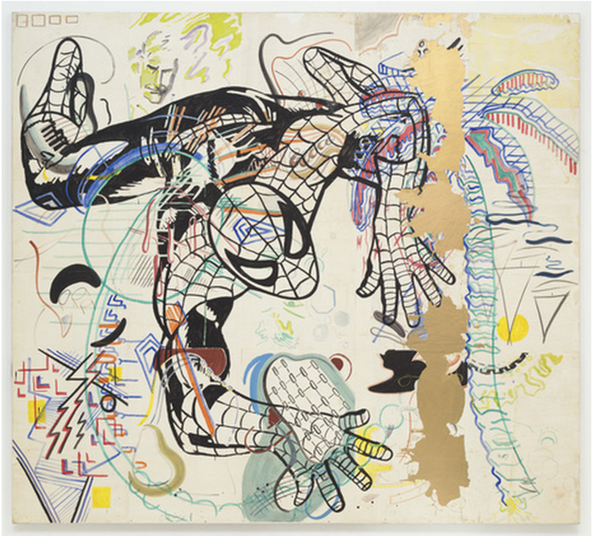 "Sigmar Polke. Spiderman. 1971-74. Cut-and-pasted painted papers on canvas, 9' 3 1/4"" x 10' 3"" (282.6 x 213.4 cm). Purchased with funds given by Leon D. Black, Marie-Josée and Henry R. Kravis, Jo Carole and Ronald S. Lauder, and the Richard E. Salomon Family © 2013 Estate of Sigmar Polke / Artists Rights Society (ARS), New York / VG Bild-Kunst, Bonn, Germany"