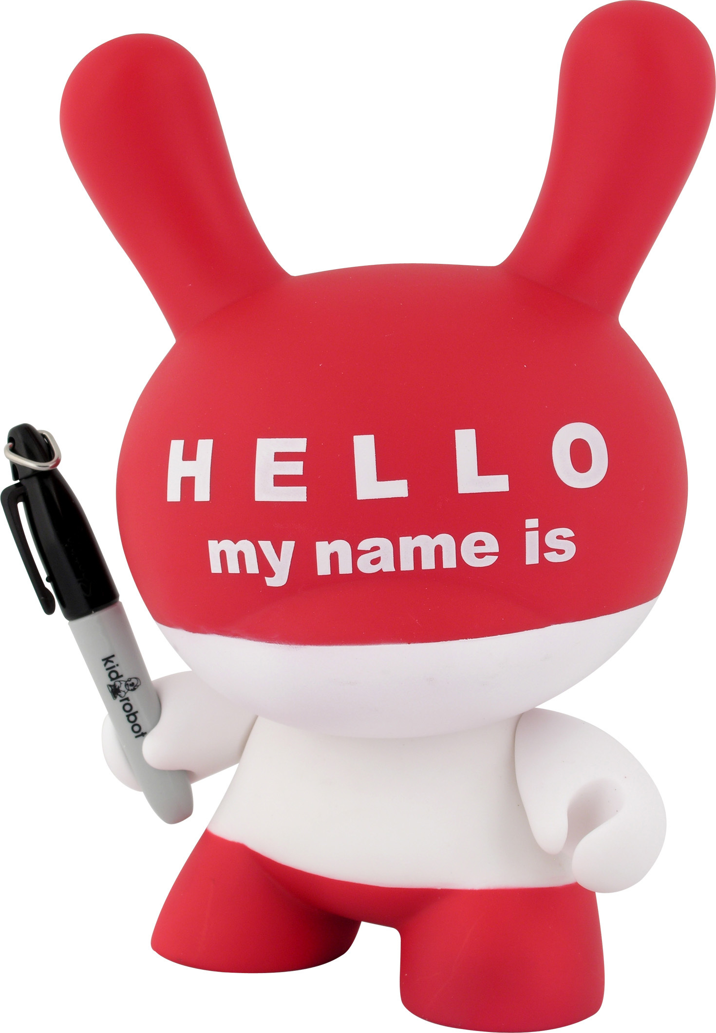 "Paul Budnitz, Tristan Eaton, and Huck Gee. ""Hello My Name Is"" Dunny. 2006. Vinyl, 8 × 5 × 5 1/4″ (20.3 × 12.7 × 13.3 cm). The Museum of Modern Art, New York. Gift of the manufacturer. © 2007 Kidrobot"
