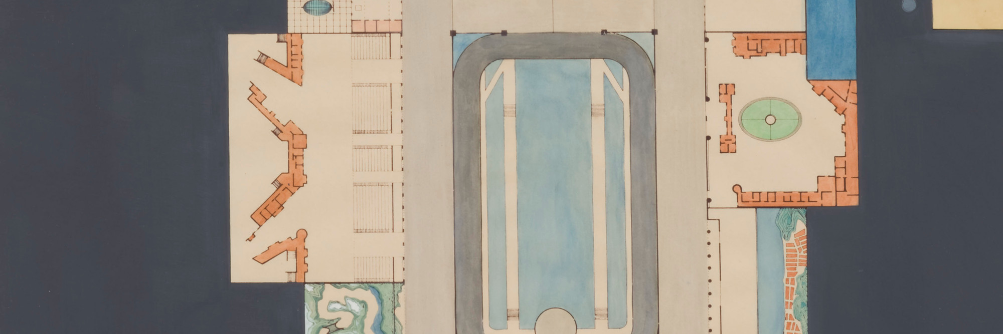 Rem Koolhaas. <em>Plan of Dreamland.</em> 1977. Watercolor and ink, 41 3/4 × 22″ (106 × 55.9 cm). Gift of Frederieke S. Taylor. © 2008 Rem Koolhaas