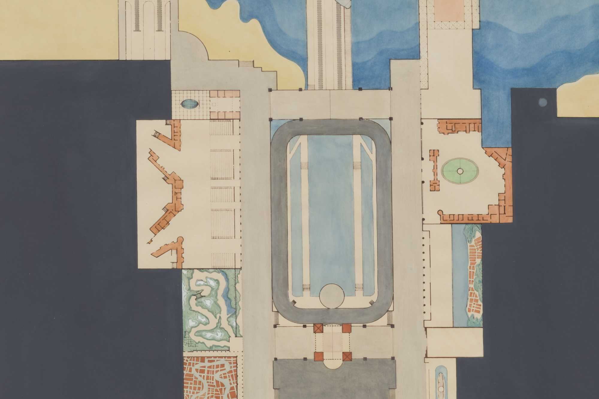 Rem Koolhaas. Plan of Dreamland. 1977. Watercolor and ink, 41 3/4 × 22″ (106 × 55.9 cm). Gift of Frederieke S. Taylor. © 2008 Rem Koolhaas
