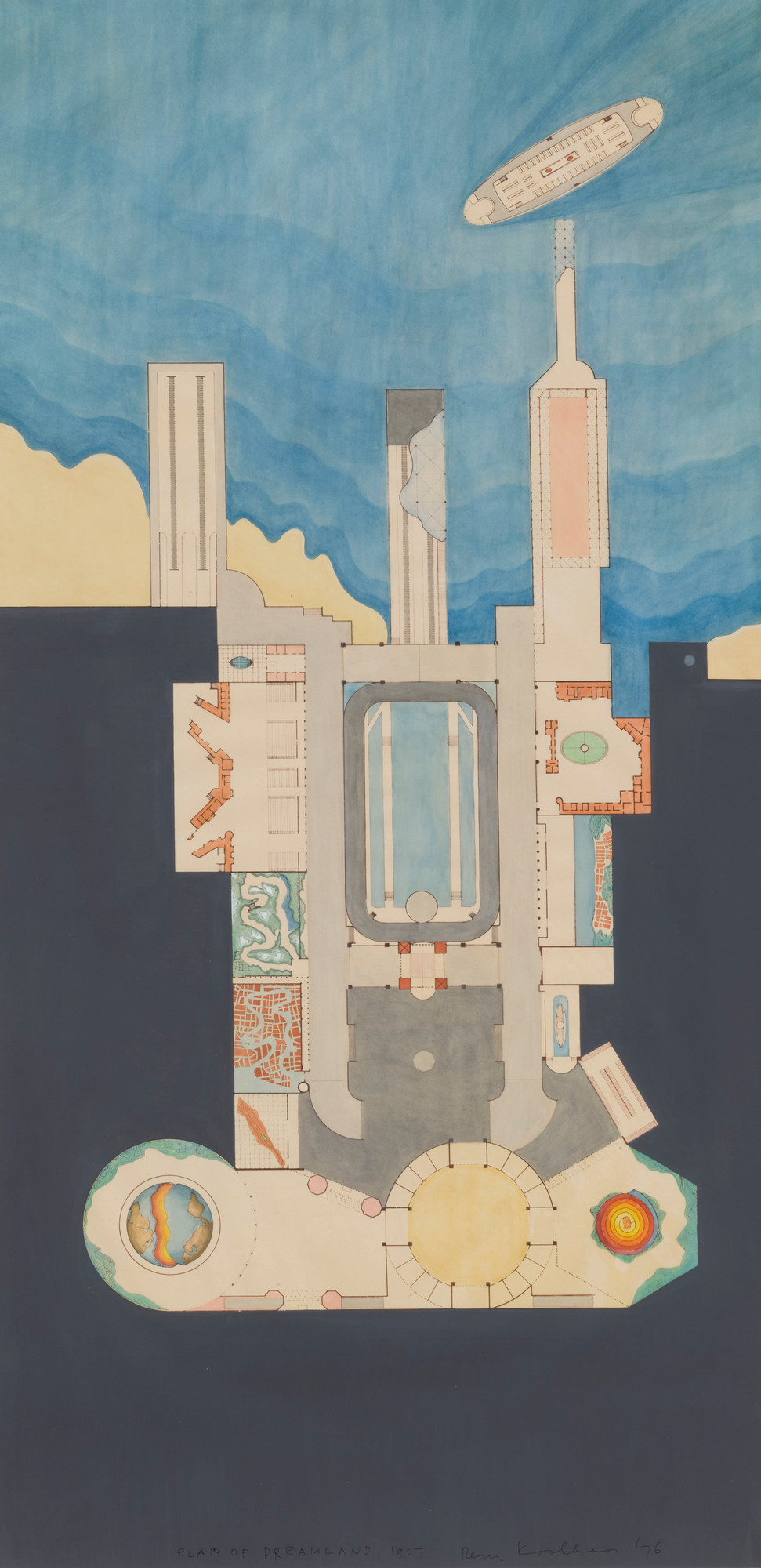 Rem Koolhaas. Plan of Dreamland. 1977. Watercolor and ink, 41 3⁄4 × 22″ (106 × 55.9 cm). Gift of Frederieke S. Taylor. © 2008 Rem Koolhaas