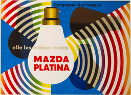 Jacques Nathan-Garamond (French, b. 1910). Elle les Éclipse Toutes, Mazda Platina. c. 1938. Lithograph. 45⅝ × 63″ (115.8 × 160 cm). The Museum of Modern Art, New York. Gift of the Designer, 1968 he Museum of Modern Art, New York. Gift of the Designer, 1968