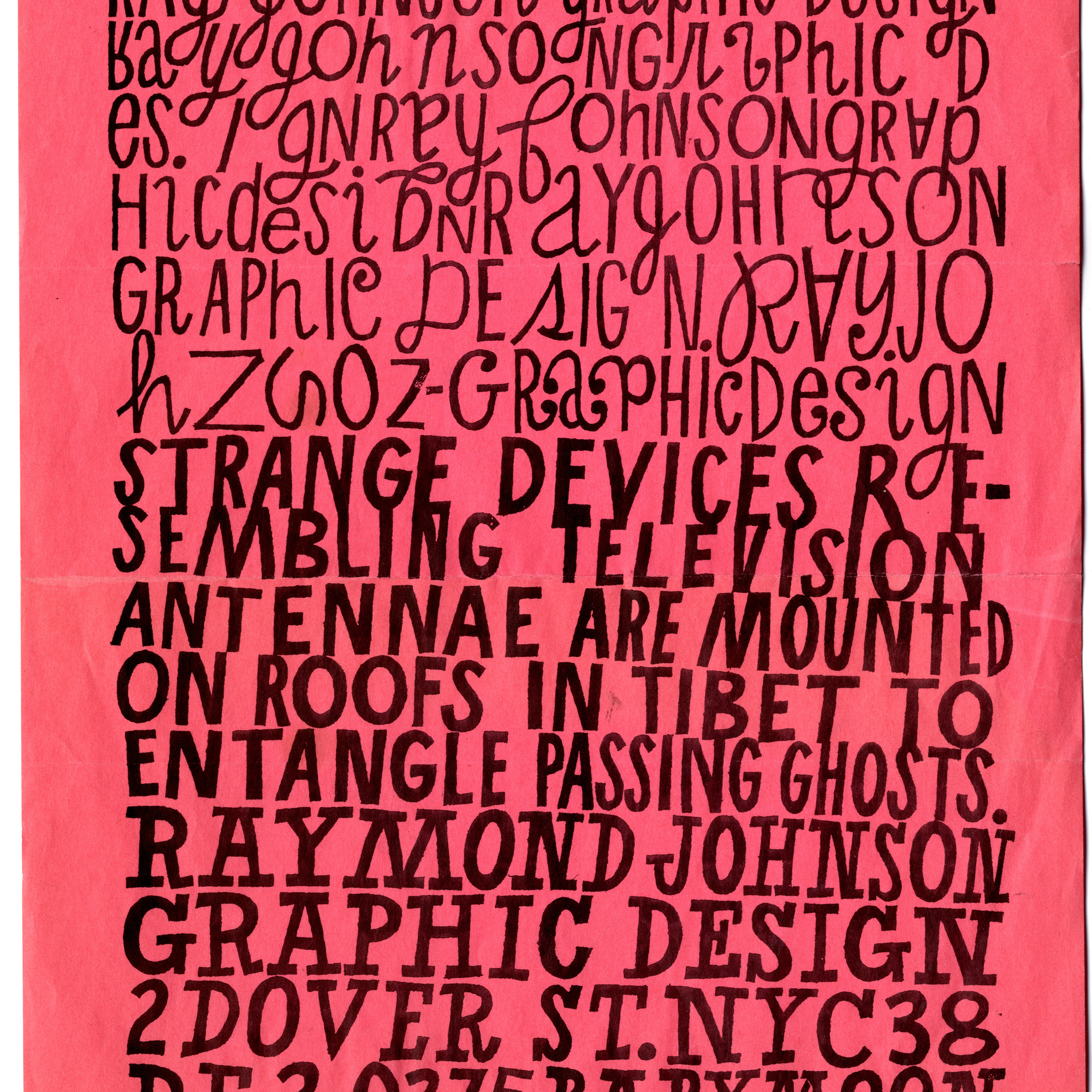 Ray Johnson. Promotional flyer. c. 1956–60