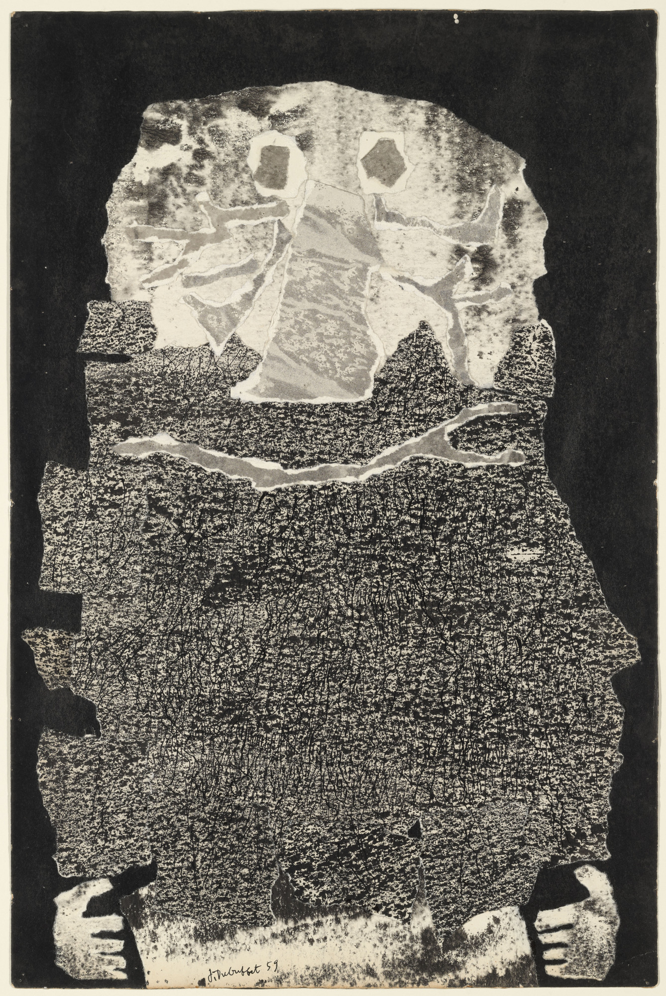 "Jean Dubuffet (French, 1901-1985). Le Vin de barbe. 1959. Torn-and-pasted paper with ink and ink transfer on paper, composition and sheet: 20 x 13 1⁄4"" (50.8 x 33.6 cm). The Museum of Modern Art, New York. Nina and Gordon Bunshaft Bequest, 1995. © 2014 Artists Rights Society (ARS), New York /ADAGP, Paris."