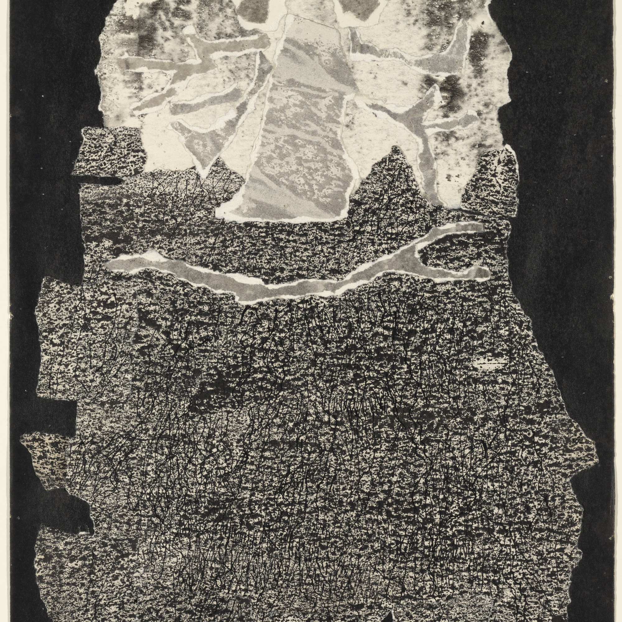 "Jean Dubuffet (French, 1901-1985). Le Vin de barbe. 1959. Torn-and-pasted paper with ink and ink transfer on paper, composition and sheet: 20 x 13 1/4"" (50.8 x 33.6 cm). The Museum of Modern Art, New York. Nina and Gordon Bunshaft Bequest, 1995. © 2014 Artists Rights Society (ARS), New York /ADAGP, Paris."
