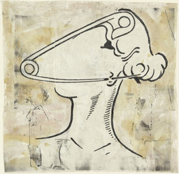 "Steve Gianakos. *She Could Hardly Wait*. 1996. Oil and ink on cut-and-pasted printed paper, 27 x 27 1/2"" (68.6 x 69.9 cm). The Judith Rothschild Foundation Contemporary Drawings Collection Gift. © 2012 Steve Gianakos"