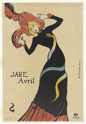 Henri de Toulouse-Lautrec (French, 1864–1901). Jane Avril. 1899. Lithograph, sheet: 22 1/16 × 15″ (56 × 38.1 cm). The Museum of Modern Art, New York. Gift of Abby Aldrich Rockefeller, 1946