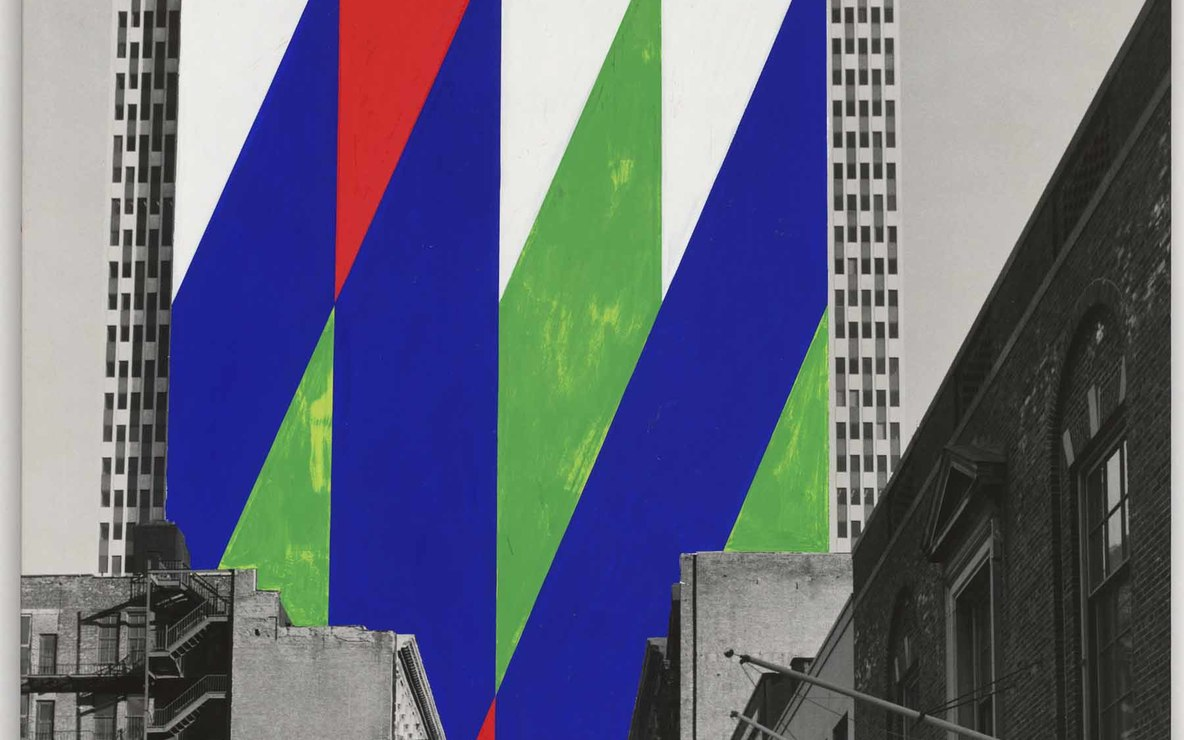 Jason Crum (American, 1935–2004). Project for a Painted Wall, New York City, New York. Perspective. 1969. Gouache on photograph. 30 × 20″ (76.2 × 50.8 cm). The Museum of Modern Art, New York. Purchase, 1969