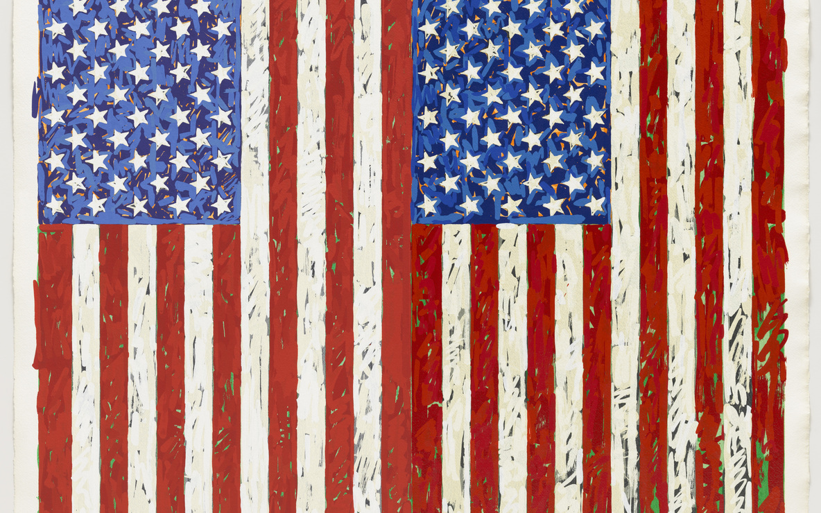 Jasper Johns. *Flags I.* 1973. Screenprint, 27 3/8 × 35 1/4″ (69.5 × 89.5 cm). Publisher: the artist and Simca Print Artists Inc., New York. Printer: Simca Print Artists Inc., New York. Edition: artist's proof before the edition of 65. Gift of Barbara Bertozzi Castelli, New York, 2011. © 2012 Jasper Johns/Licensed by VAGA, New York