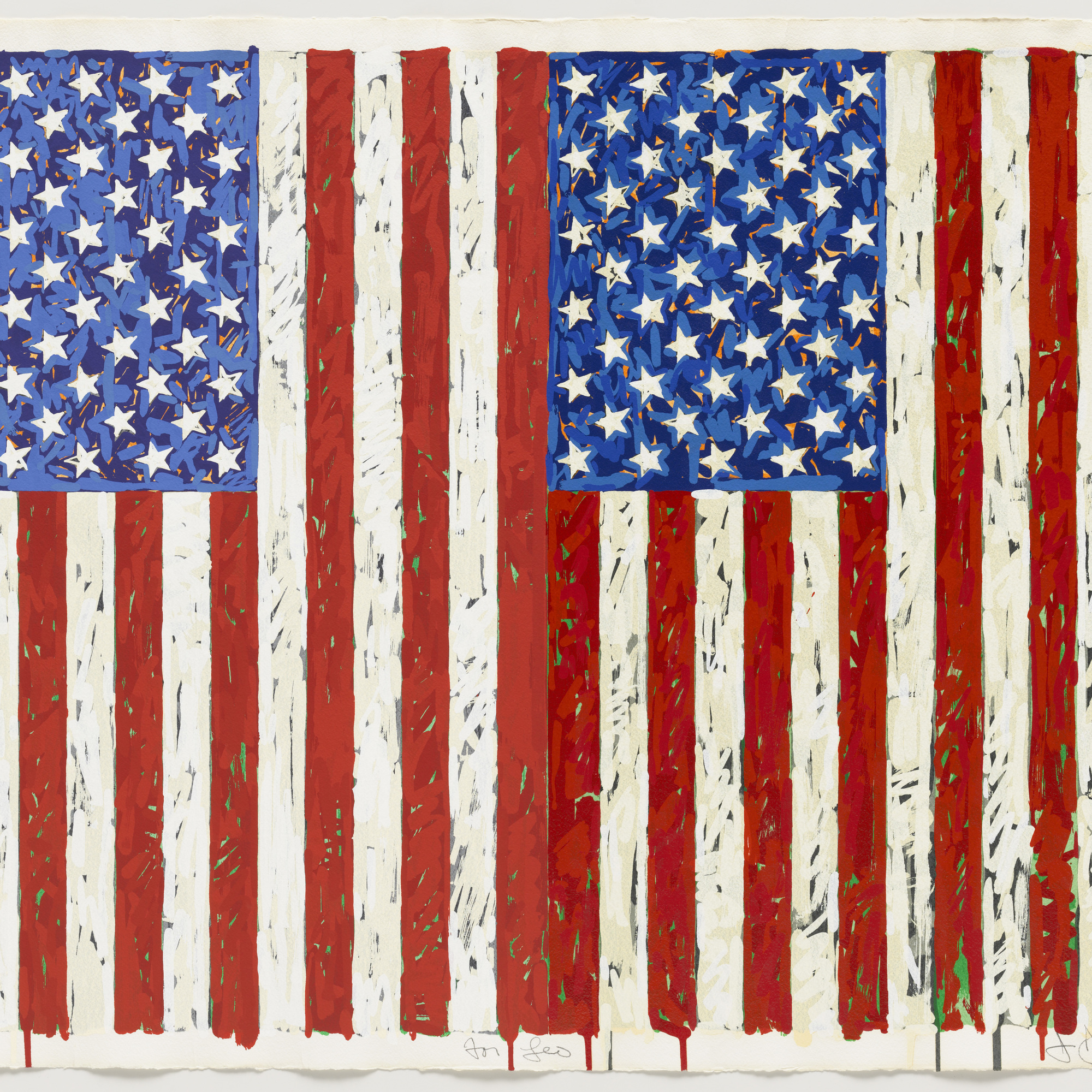 "Jasper Johns. Flags I. 1973. Screenprint, 27 3/8 x 35 1/4"" (69.5 x 89.5 cm). Publisher: the artist and Simca Print Artists Inc., New York. Printer: Simca Print Artists Inc., New York. Edition: artist's proof before the edition of 65. Gift of Barbara Bertozzi Castelli, New York, 2011. © 2012 Jasper Johns/Licensed by VAGA, New York"