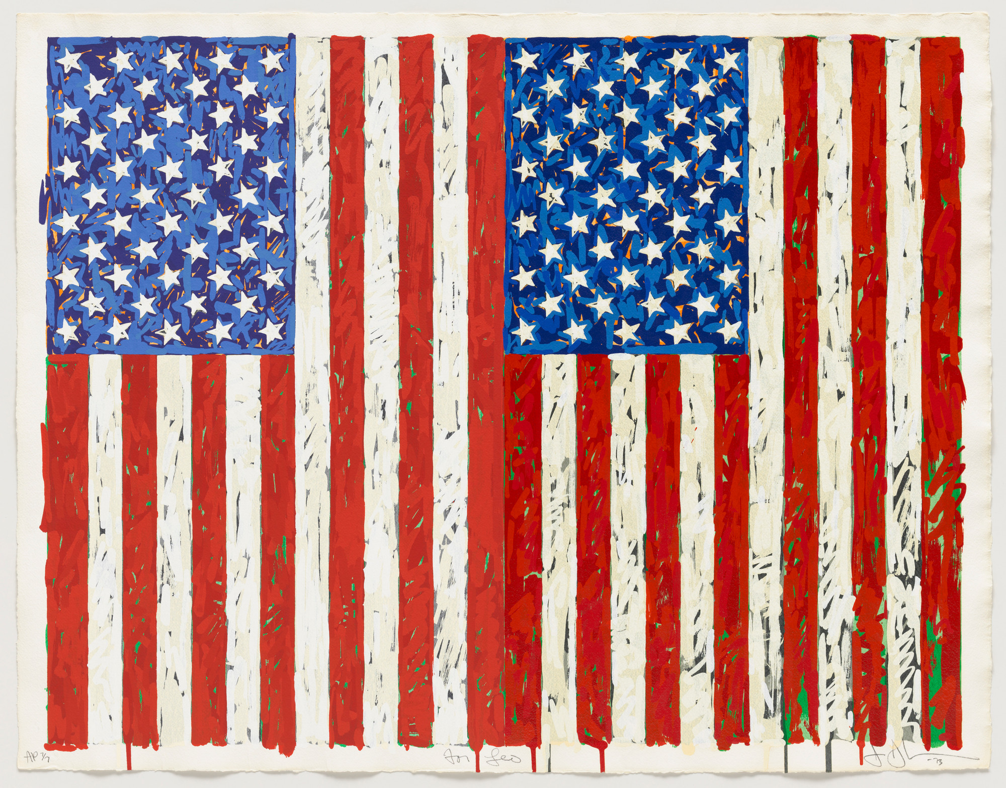 Jasper Johns. Flags I. 1973. Screenprint, 27 3⁄8 × 35 1/4″ (69.5 × 89.5 cm). Publisher: the artist and Simca Print Artists Inc., New York. Printer: Simca Print Artists Inc., New York. Edition: artist's proof before the edition of 65. Gift of Barbara Bertozzi Castelli, New York, 2011. © 2012 Jasper Johns/Licensed by VAGA, New York