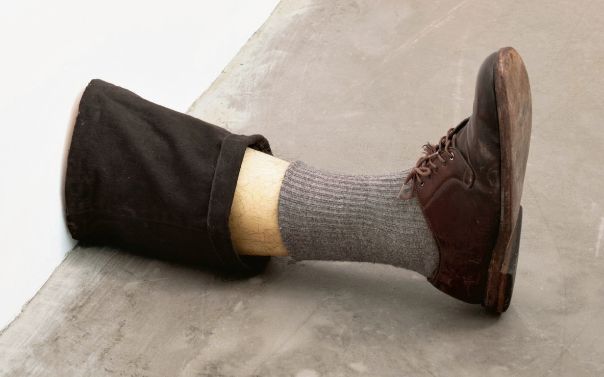 Robert Gober (American, born 1954). *Untitled Leg*. 1989–90. Beeswax, cotton, wood, leather, human hair, 11 3/8 x 7 3/4 x 20″ (28.9 x 19.7 x 50.8 cm). The Museum of Modern Art, New York. Gift of the Dannheiser Foundation. © 2014 Robert Gober