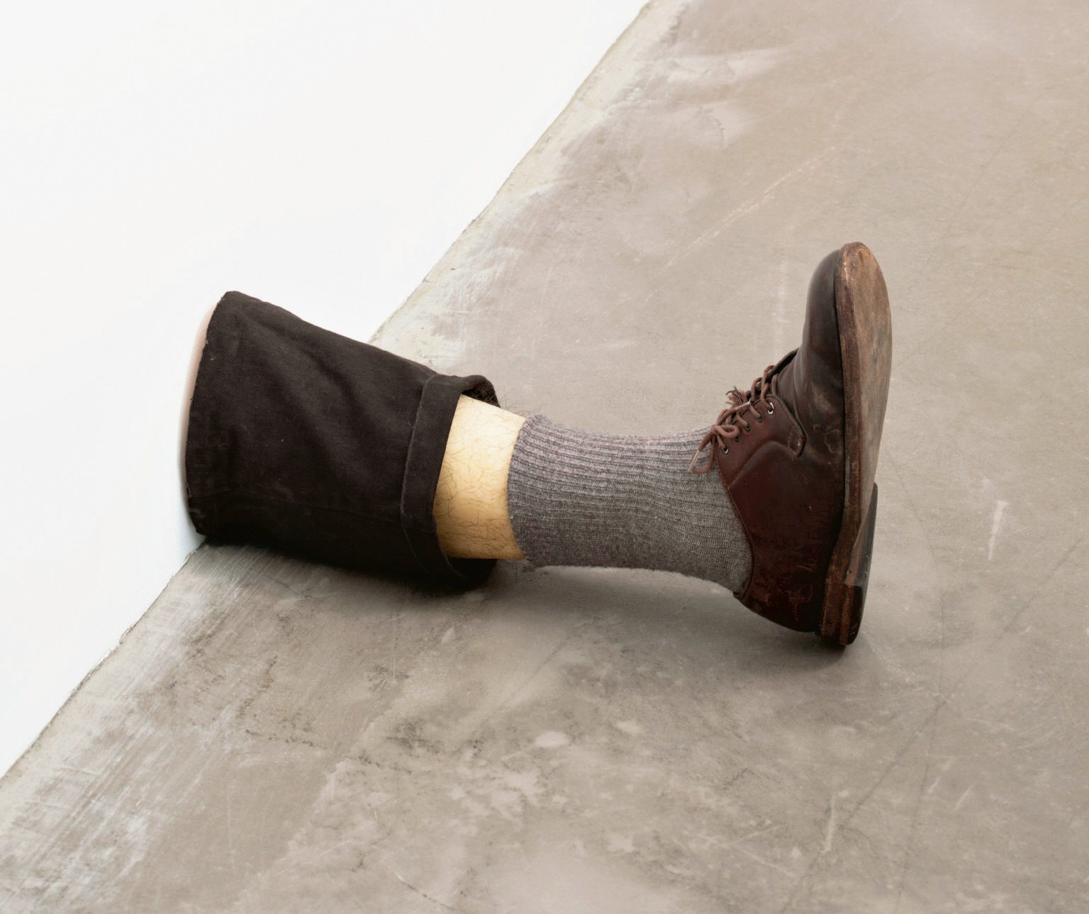 Robert Gober (American, born 1954). Untitled Leg. 1989–90. Beeswax, cotton, wood, leather, human hair, 11 3/8 x 7 3/4 x 20″ (28.9 x 19.7 x 50.8 cm). The Museum of Modern Art, New York. Gift of the Dannheiser Foundation. © 2014 Robert Gober