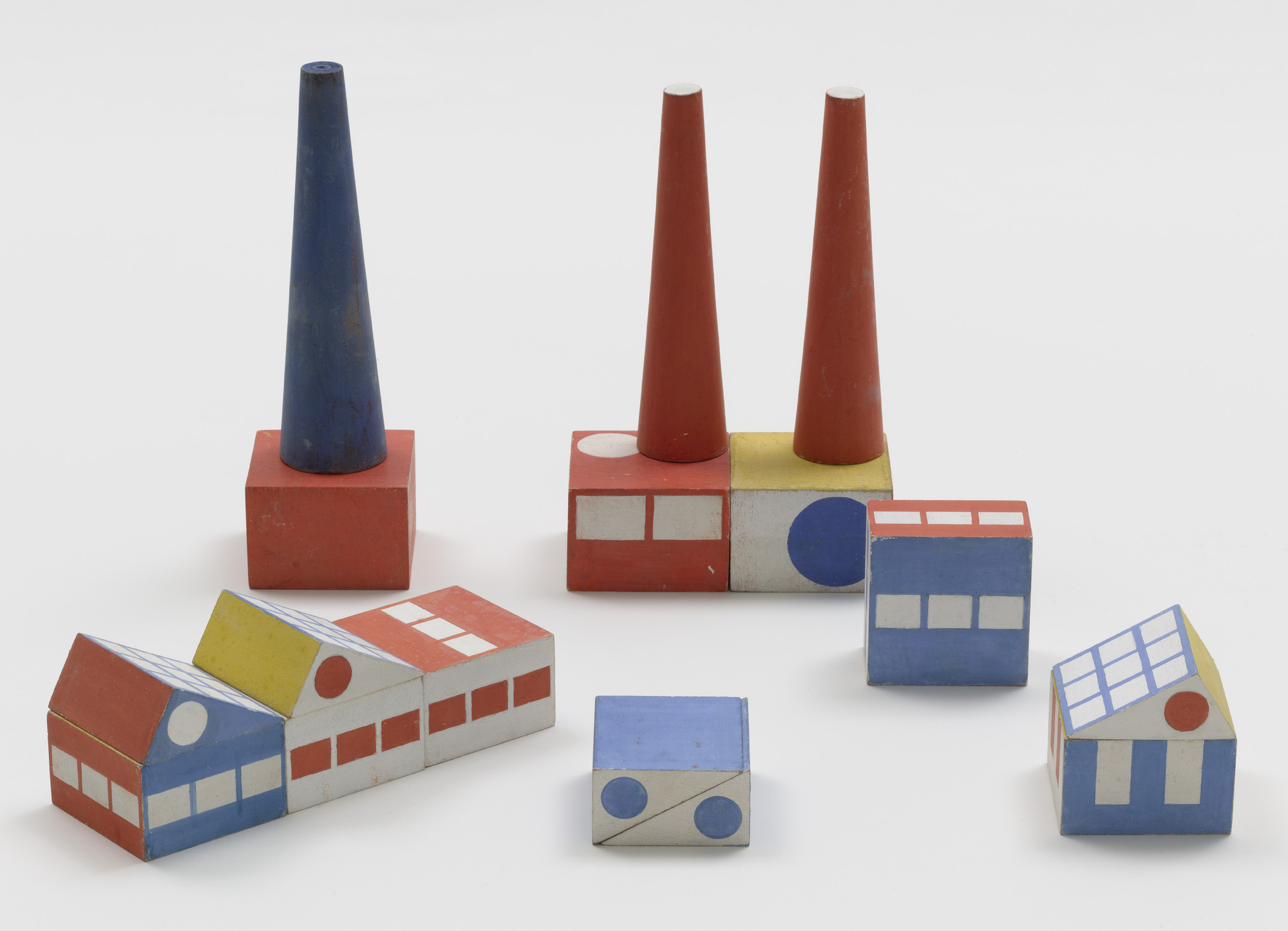 Ladislav Sutnar. Prototype for Build the Town Building Blocks. 1940–43. Painted wood, large block: 1 3⁄4 × 2 3⁄4 × 2 3/4″ (4.4 × 7 × 7 cm). The Museum of Modern Art, New York. Gift of Ctislav Sutnar and Radoslav Sutnar