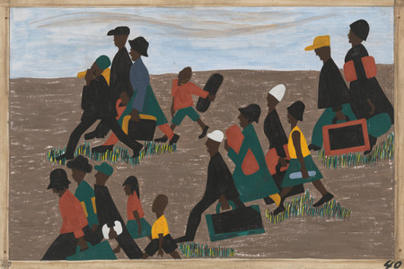 Jacob Lawrence. The Migration Series. 1940-41. Panel 40: The migrants arrived in great numbers. Casein tempera on hardboard, 18 × 12″ (45.7 × 30.5 cm). The Museum of Modern Art, New York. Gift of Mrs. David M. Levy. © 2015 The Jacob and Gwendolyn Knight Lawrence Foundation, Seattle / Artists Rights Society (ARS), New York. Digital image © The Museum of Modern Art/Licensed by SCALA / Art Resource, NY
