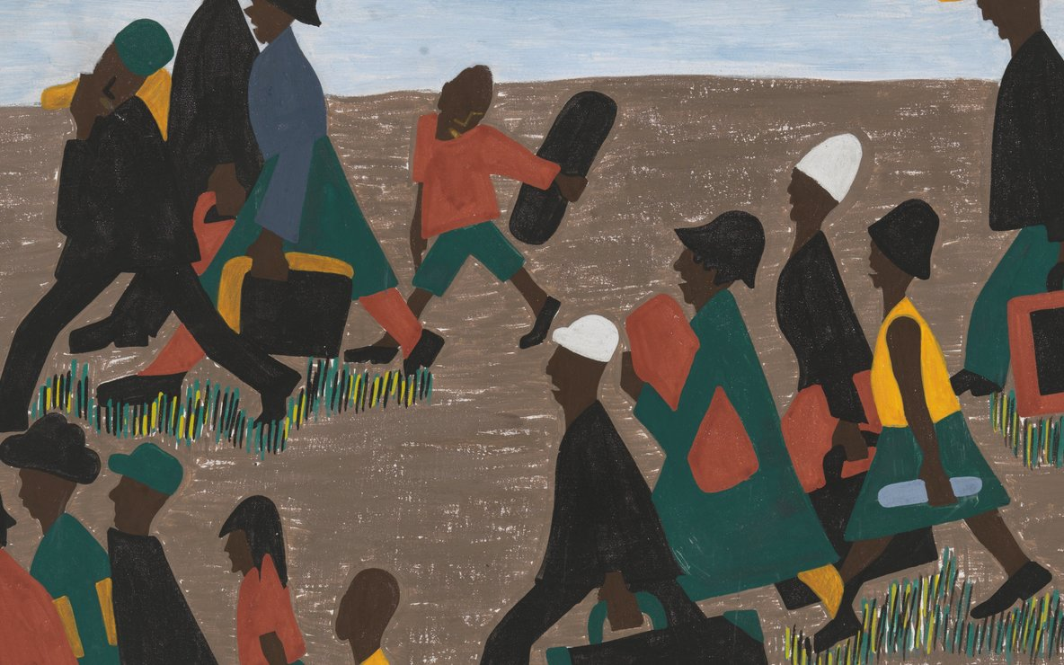 Jacob Lawrence. The Migration Series. 1940-41. Panel 40: *The migrants arrived in great numbers.* Casein tempera on hardboard, 18 × 12″ (45.7 × 30.5 cm). The Museum of Modern Art, New York. Gift of Mrs. David M. Levy. © 2015 The Jacob and Gwendolyn Knight Lawrence Foundation, Seattle / Artists Rights Society (ARS), New York. Digital image © The Museum of Modern Art/Licensed by SCALA / Art Resource, NY