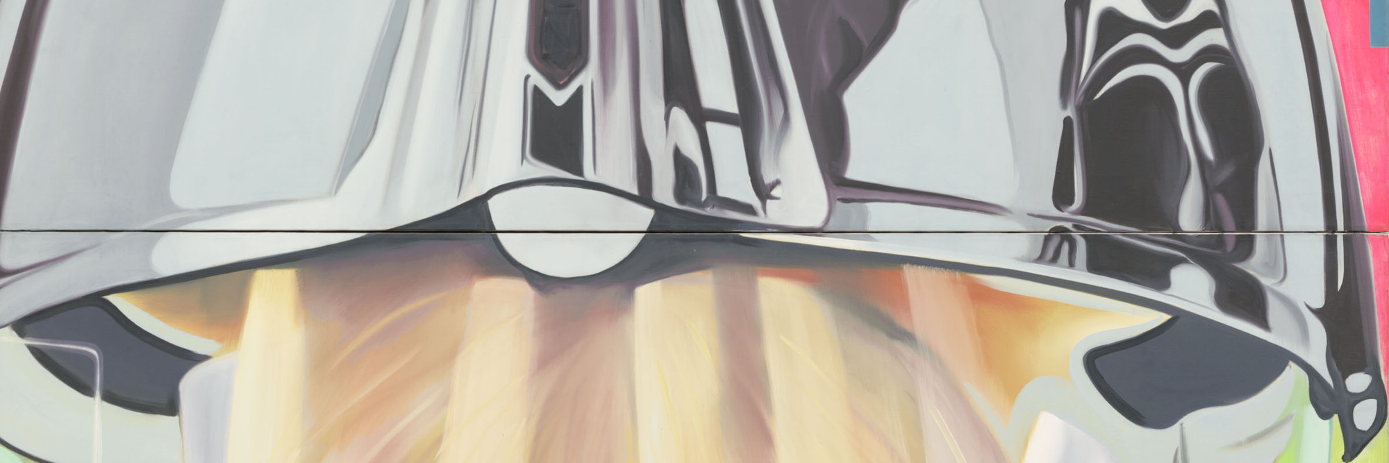 James Rosenquist. <em>F-111</em> (detail). 1964–65. Oil on canvas with aluminum, 23 sections. 10 x 86' (304.8 x 2621.3 cm). Gift of Mr. and Mrs. Alex L. Hillman and Lillie P. Bliss Bequest (both by exchange). © 2011 James Rosenquist/Licensed by VAGA, New York