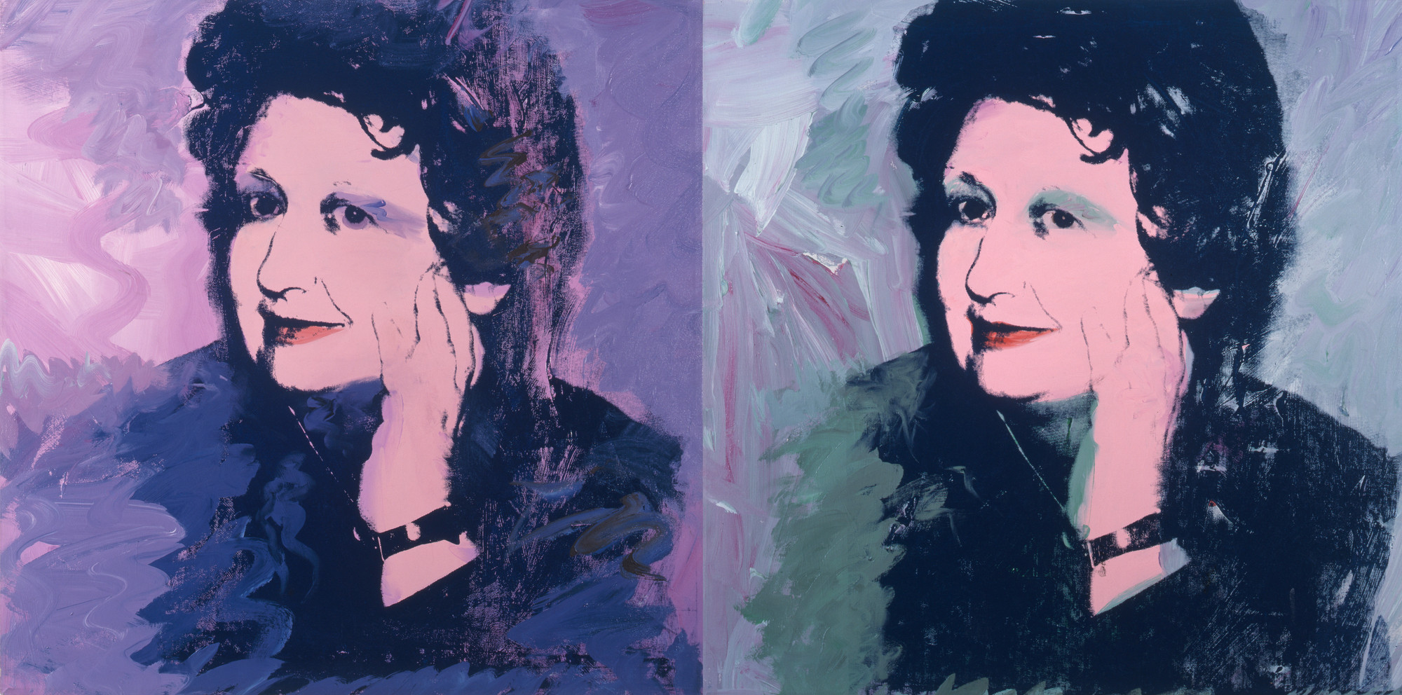 "Andy Warhol (American, 1928–1987). Ileana Sonnabend. 1973. Acrylic and silkscreen ink on canvas, two panels, 40 x 80"" (101.6 x 203.2 cm). The Sonnabend Collection. © 2013 Andy Warhol Foundation for the Visual Arts/Artists Rights Society (ARS), New York"