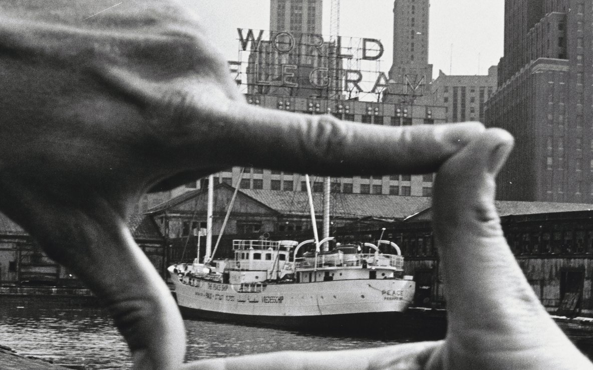 "John Baldessari (American, b. 1931). *Hands Framing New York Harbor* from *Pier 18*. 1971. Photograph by Shunk-Kender (Harry Shunk [German, 1924–2006] and János Kender [Hungarian, 1937–2009]). Gelatin silver print, 7 3/8 × 9 15/16"" (18.8 × 25.2 cm). The Museum of Modern Art, New York. Gift of the Roy Lichtenstein Foundation in honor of Jennifer Winkworth and Kynaston McShine and in memory of Harry Shunk and János Kender. © 2015 John Baldessari. Photograph: Shunk-Kender © J. Paul Getty Trust. The Getty Research Institute, Los Angeles"