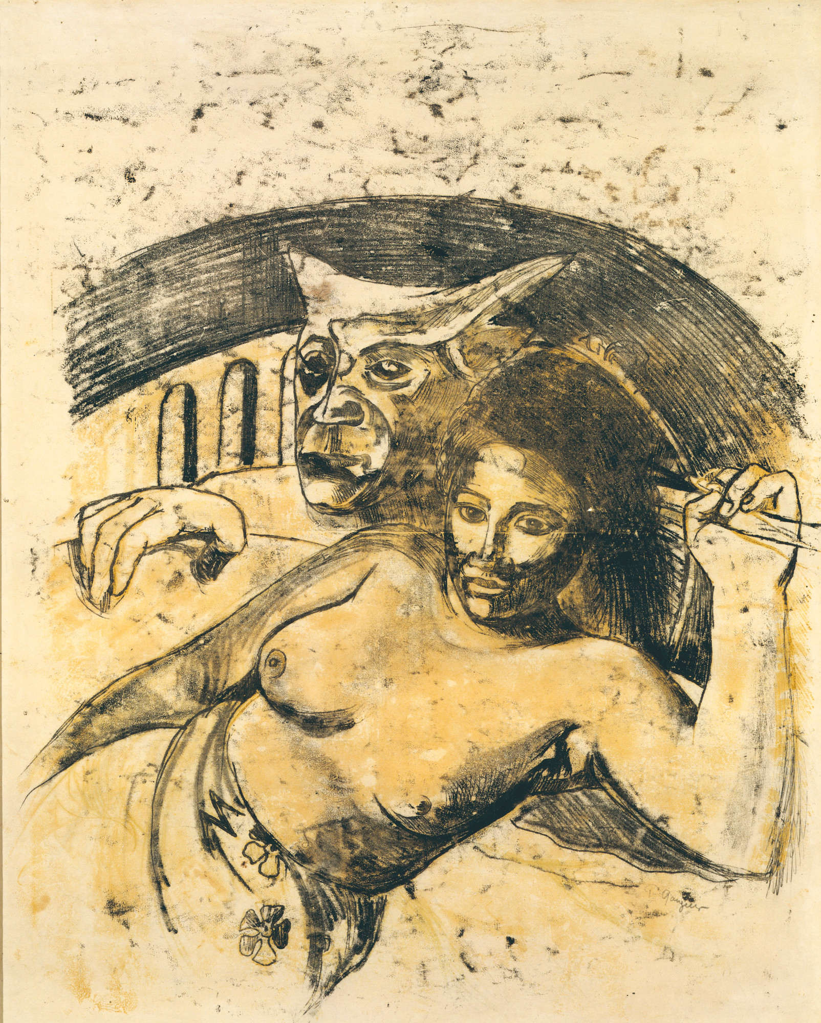 "Paul Gauguin. Tahitian Woman with Evil Spirit. c. 1900. Oil transfer drawing, sheet: 22 1⁄16 x 17 13⁄16"" (56.1 x 45.3 cm). Private collection"