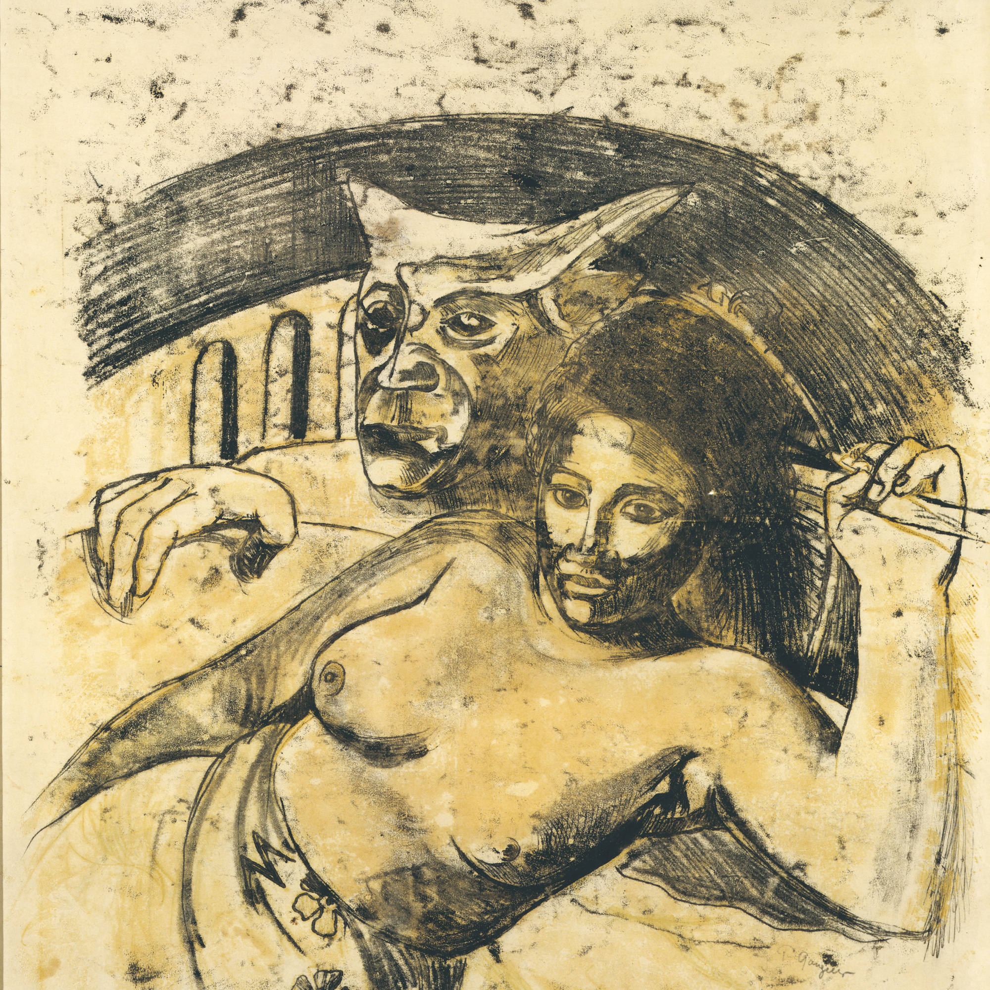 "Paul Gauguin. Tahitian Woman with Evil Spirit. c. 1900. Oil transfer drawing, sheet: 22 1/16 x 17 13/16"" (56.1 x 45.3 cm). Private collection"