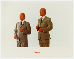 Gilbert & George. *The Red Sculpture Album*. 1975. Artist's book of 11 chromogenic color prints with text, 15 3/16 x 19 7/8″ (38.5 x 50.5 cm). Art & Project/Depot VBVR Gift. © 2015 Gilbert & George