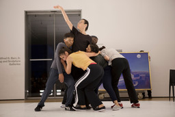 Yvonne Rainer. *The Concept of Dust, or How do you look when there's nothing left to move?* 2015. Performers, from left: Keith Sabado, Patricia Hoffbauer, Yvonne Rainer, Emmanuèlle Phuon, David Thomson, and Pat Catterson. Photograph © 2015 The Museum of Modern Art, New York. Photo: Julieta Cervantes