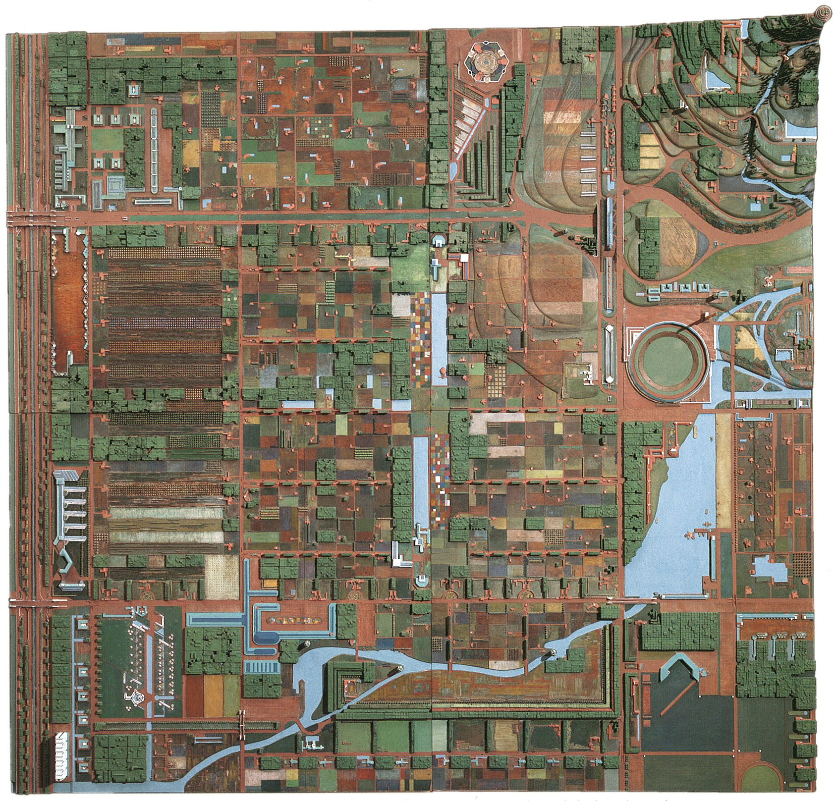 Frank Lloyd Wright (American, 1867–1959). Broadacre City. Project, 1934–35. Model: painted wood, 152 × 152″ (386.1 x 386.1 cm). The Frank Lloyd Wright Foundation Archives (The Museum of Modern Art | Avery Architectural & Fine Arts Library, Columbia University, New York)