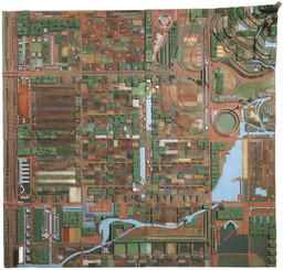 Frank Lloyd Wright (American, 1867–1959). Broadacre City. Project, 1934–35. Model: painted wood, 152 × 152″ (386.1 × 386.1 cm). The Frank Lloyd Wright Foundation Archives (The Museum of Modern Art | Avery Architectural & Fine Arts Library, Columbia University, New York)