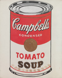Andy Warhol (American, 1928–1987). *Campbell's Soup Cans* (detail). 1962. Synthetic polymer paint on 32 canvases, each 20 × 16″ (50.8 × 40.6 cm). The Museum of Modern Art, New York. Partial gift of Irving Blum. Additional funding provided by Nelson A. Rockefeller Bequest, gift of Mr. and Mrs. William A.M. Burden, Abby Aldrich Rockefeller Fund, gift of Nina and Gordon Bunshaft in honor of Henry Moore, Lillie P. Bliss Bequest, Philip Johnson Fund, Frances R. Keech Bequest, gift of Mrs. Bliss Parkinson, and Florence B. Wesley Bequest (all by exchange)