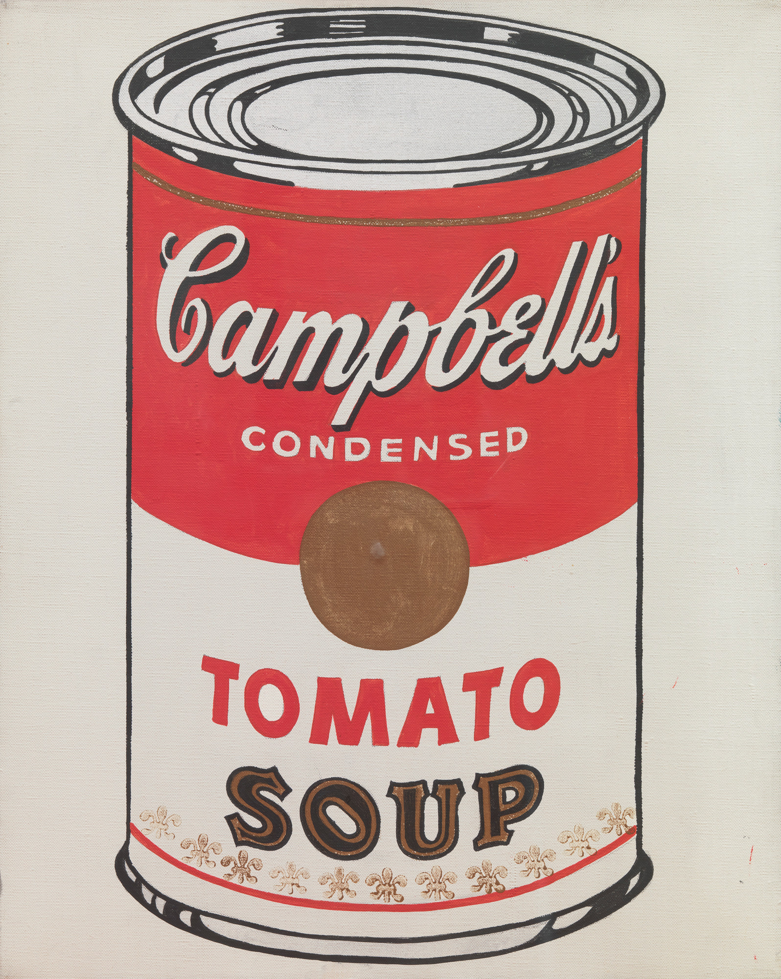 Andy Warhol (American, 1928–1987). Campbell's Soup Cans (detail). 1962. Synthetic polymer paint on 32 canvases, each 20 × 16″ (50.8 × 40.6 cm). The Museum of Modern Art, New York. Partial gift of Irving Blum. Additional funding provided by Nelson A. Rockefeller Bequest, gift of Mr. and Mrs. William A.M. Burden, Abby Aldrich Rockefeller Fund, gift of Nina and Gordon Bunshaft in honor of Henry Moore, Lillie P. Bliss Bequest, Philip Johnson Fund, Frances R. Keech Bequest, gift of Mrs. Bliss Parkinson, and Florence B. Wesley Bequest (all by exchange)