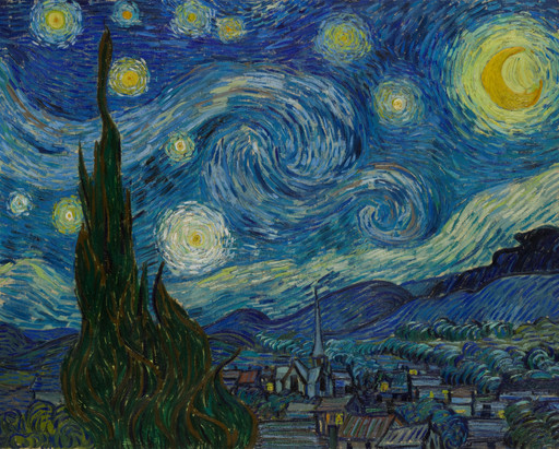 Vincent van Gogh. The Starry Night. Saint Rémy, June 1889. Oil on canvas, 29 × 36 1/4″ (73.7 × 92.1 cm). Acquired through the Lillie P. Bliss Bequest