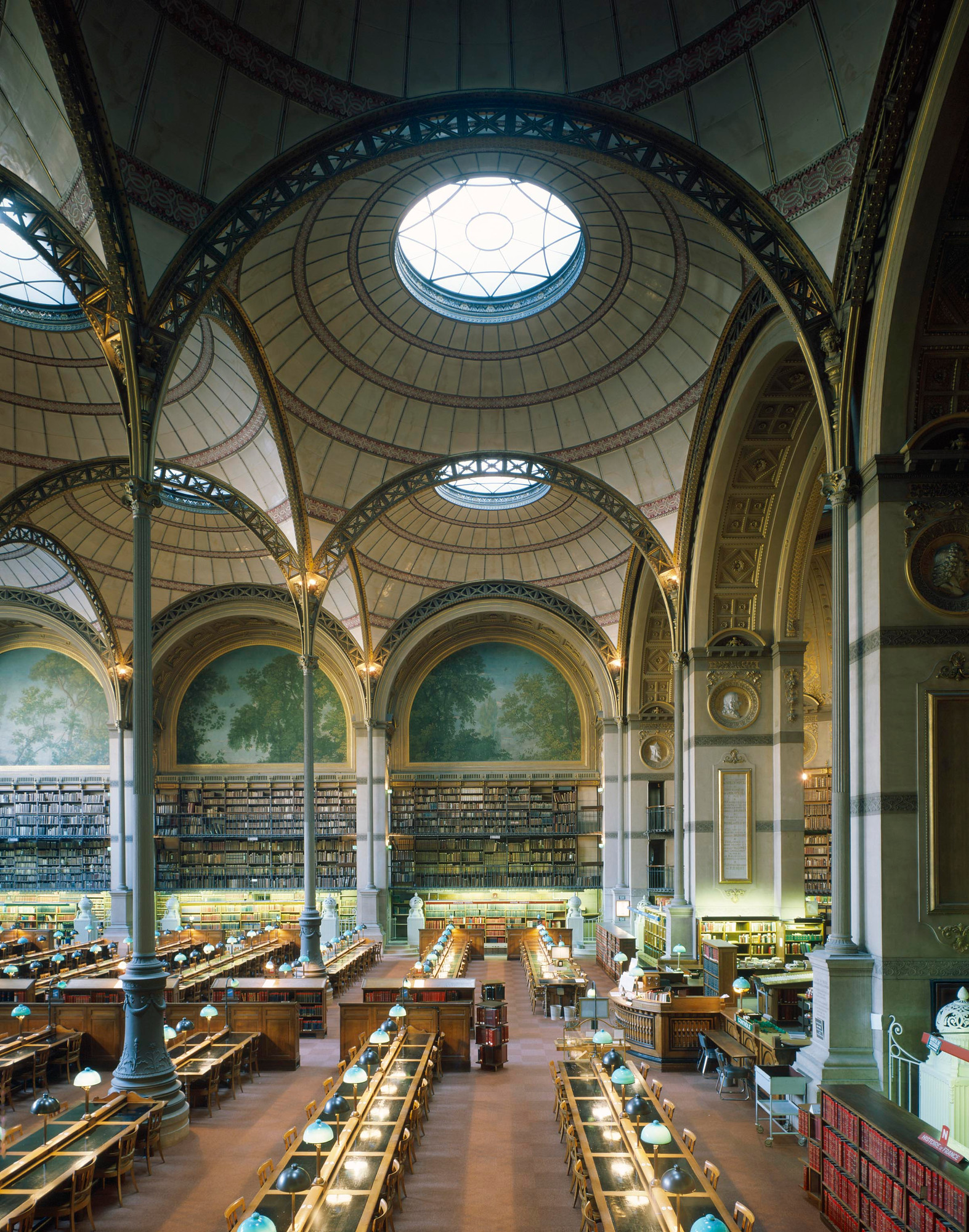 Henri Labrouste. Bibliothèque nationale, Paris. 1854–75. View of the reading room. © Georges Fessy