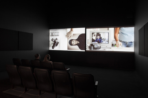 Akram Zaatari. On Photography, People and Modern Times. 2010. Two-channel synchronized HD projection (color, sound), 38:43 min. Installation view of Projects 100: Akram Zaatari. 2013. Photo by John Wronn. © The Museum of Modern Art, New York.