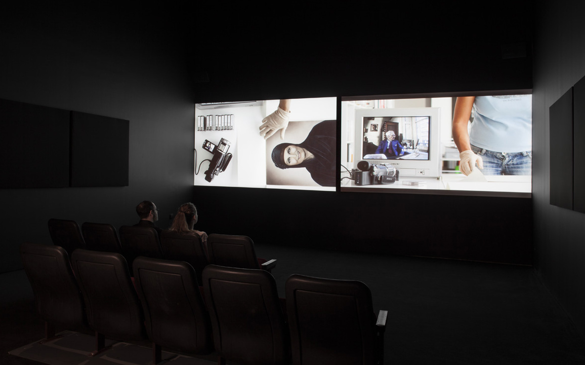 Akram Zaatari. *On Photography, People and Modern Times*. 2010. Two-channel synchronized HD projection (color, sound), 38:43 min. Installation view of *Projects 100: Akram Zaatari*. 2013. Photo by John Wronn. © The Museum of Modern Art, New York.