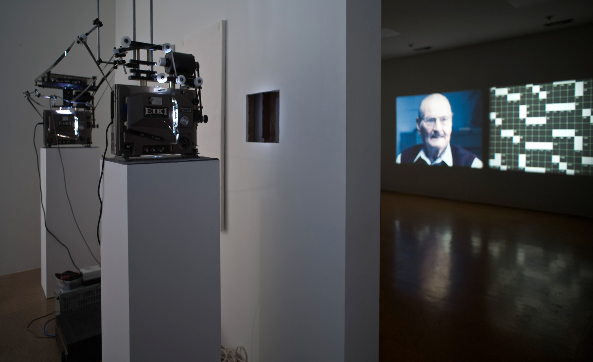 Kerry Tribe. H.M. 2009. Double projection of a single 16mm film (color, sound). 18:30 min. Fund for the Twenty-First Century. © 2013 Kerry Tribe. Installation view, 1301 PE, Los Angeles. Photo: Fredrik Nilson