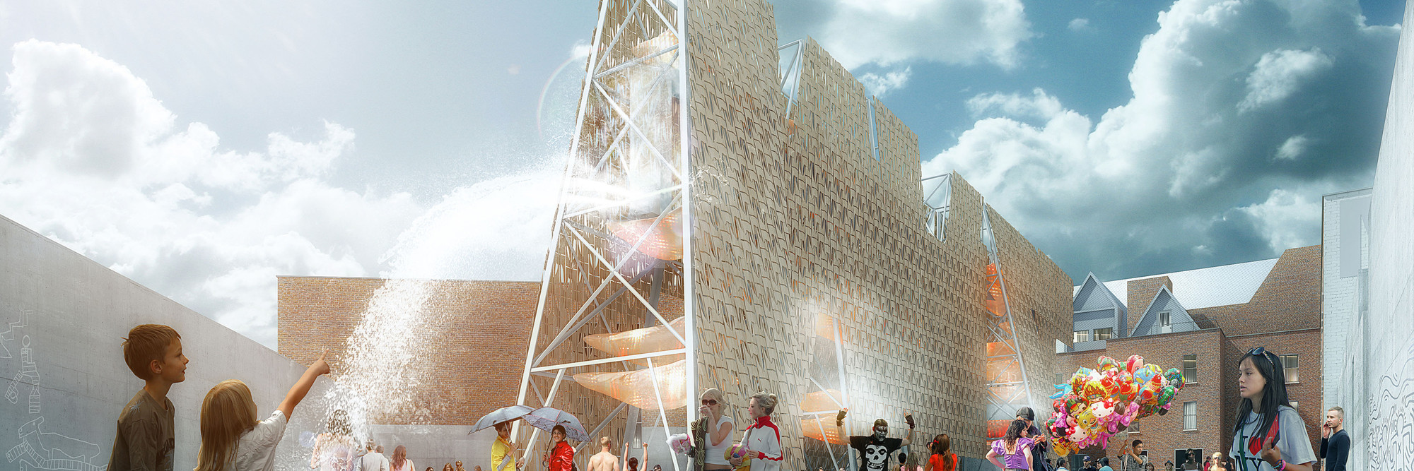 Coda. Party Wall (rendering). 2013 Young Architects Program, MoMA PS1, New York, winner