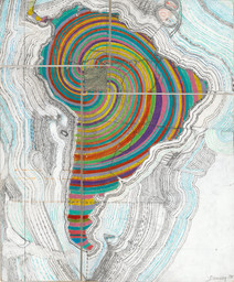 Juan Downey. *Map of America*. 1975. Colored pencil, pencil, and synthetic polymer paint on map on board. The Museum of Modern Art, New York. Purchased with funds provided by the Latin American and Caribbean Fund and Donald B. Marron. © 2015 Juan Downey / Artists Rights Society (ARS), New York