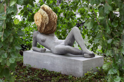 "Pierre Huyghe. *Untilled (Liegender Frauenakt)* [Reclining female nude]. 2012. Concrete with beehive structure, wax, and live bee colony; figure: 29 1/2 x 57 1/16 x 17 11/16"" (75 x 145 x 45 cm), base: 11 13/16 x 57 1/16 x 21 5/8"" (30 x 145 x 55 cm), beehive dimensions variable. The Museum of Modern Art, New York. Purchase. © 2015 Pierre Huyghe"